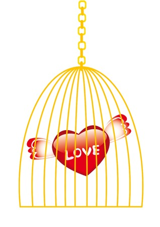 confined: Love in golden cage isolated on white Illustration