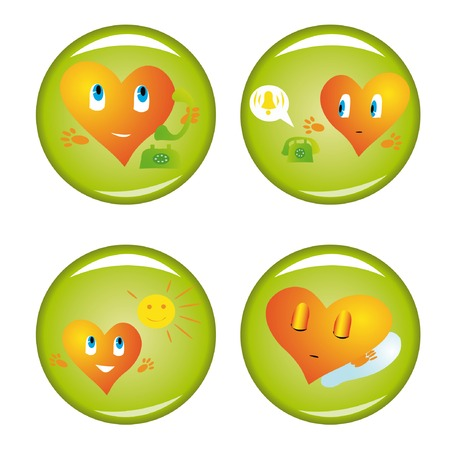 Set of four st. Valentine buttons 3. Vector illustrations. Vector
