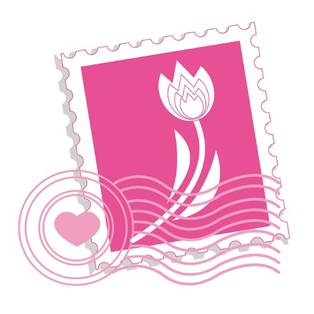 postage stamp: Postage stamp with tulip for st.valentine day Illustration