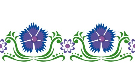 Seamless ornament with blue cornflowers and chamomiles. Vector