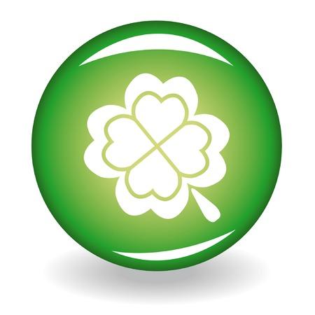 quatrefoil: Glossy button with quatrefoil for st. Patricks day Illustration
