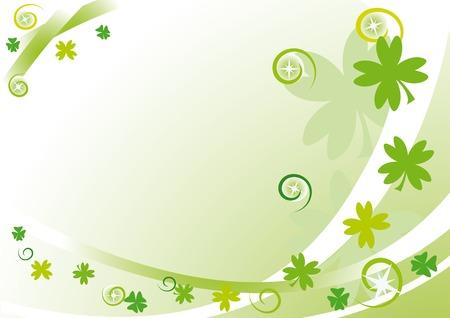 four fourleaf: Cornice verde con quadrifoglio, stelle, cerchi e spirali per il St. Patrick's Day