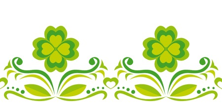 celtic culture: Seamless ornament with green clover leaves on white background Illustration