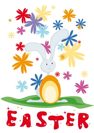 Card for Easter with rabbit, egg and flowers Vector