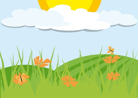 Landscape with orange flowers and cloudy sky Stock Vector - 4200624