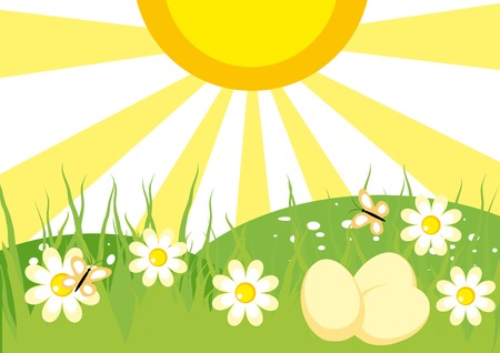 Spring landscape with flowers and eggs for Easter Vector