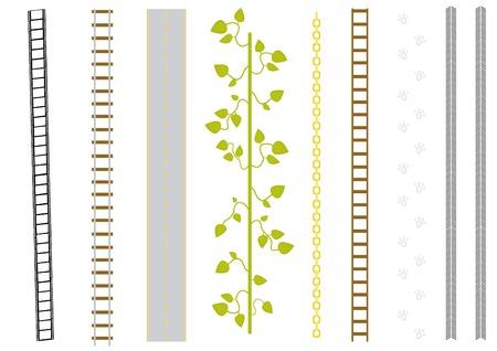 szynach: Vector, zestaw z różnymi pędzlami: folia, kolejowych, drogowych, Liany, łańcuch, drabinki wejściowej, catstep, toru. Ilustracja
