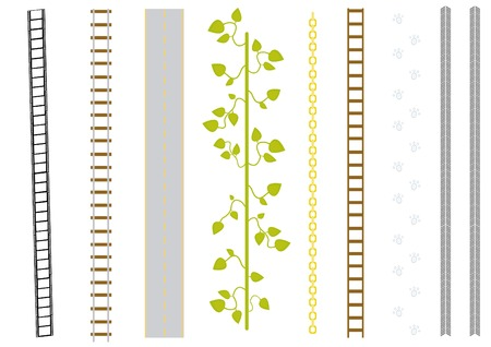 vector set of different brushes: film, railway, road, liana, chain, ladder, catstep, track.