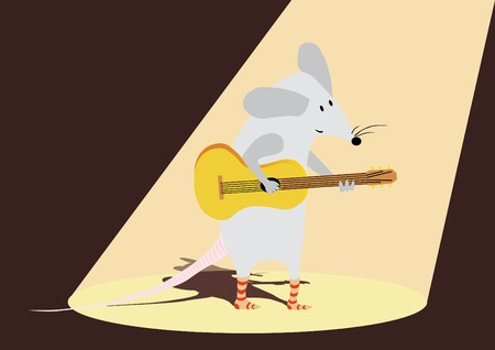 Funny mouse is playing the guitar Vector