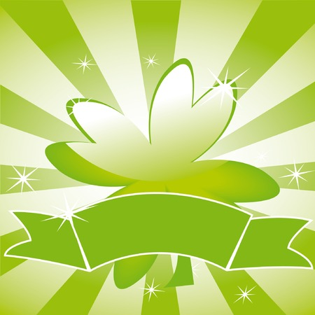 Clover leaf on striped background and ribbon Vector