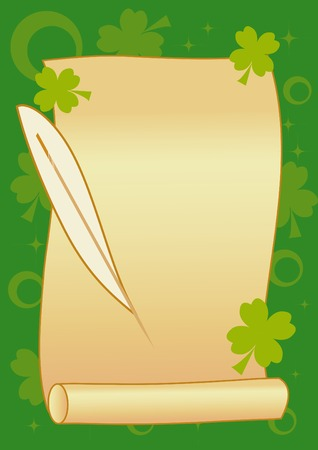 Scroll with feather on green background for St. Patricks Day Vector