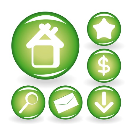 Set of green web icons for your design 1 Stock Vector - 4428506