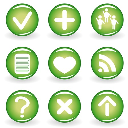 Set of green web icons for your design 2 Stock Vector - 4428525