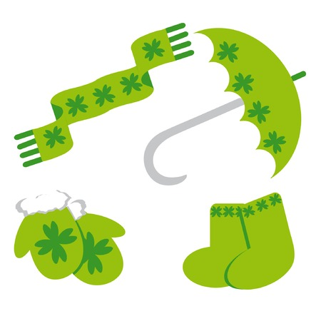 Set of icon for st. Patrick's day (umbrella; mittens, scarf, socks) Stock Vector - 4428523