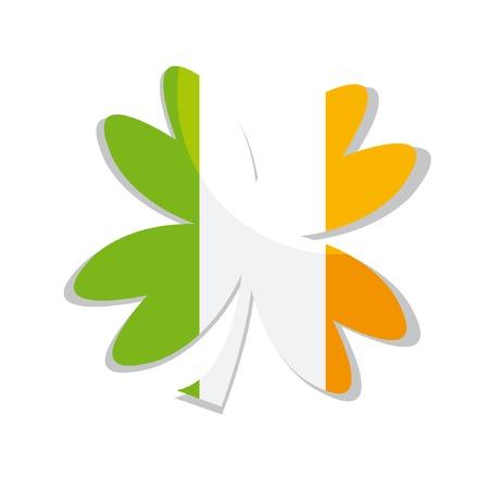 Clover leaf of three colors (Ireland flag) Vector
