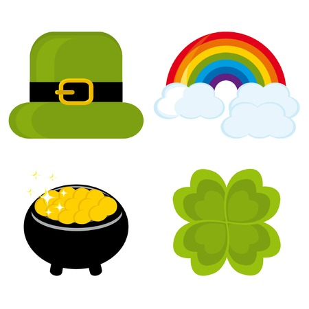 Set of icons for St. Patricks day (hat, rainbow, clover leaf, pot) Vector