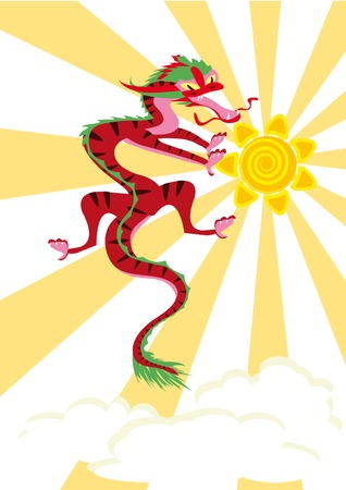 Chinese dragon in the sky Vector