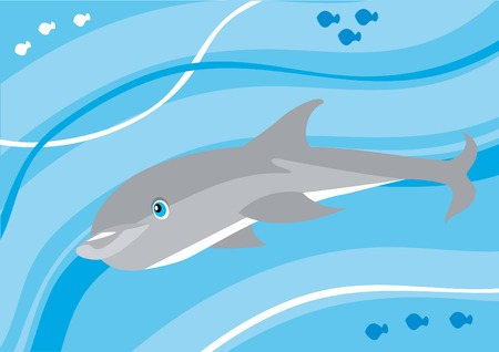 Funny cartoon dolphin underwater Vector