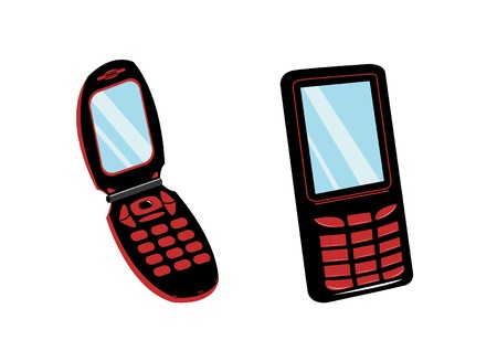 Isolated black mobile phones in the same style Vector