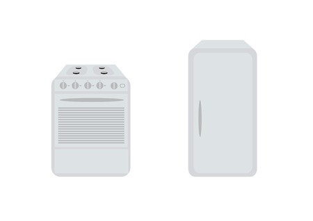 gas burners: Isolated white refrigerator and gas-stove