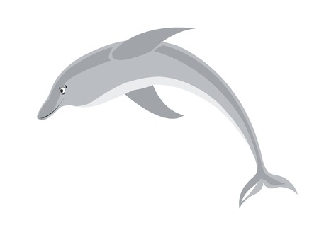 isolated illustration of smiling dolphin Vector