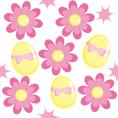 Seamless pattern with chamomiles and eggs for Easter design Vector