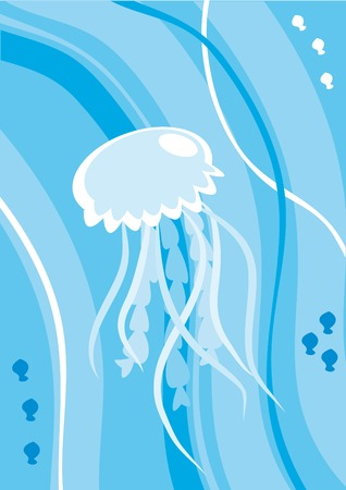 Cartoon jellyfish under water Vector