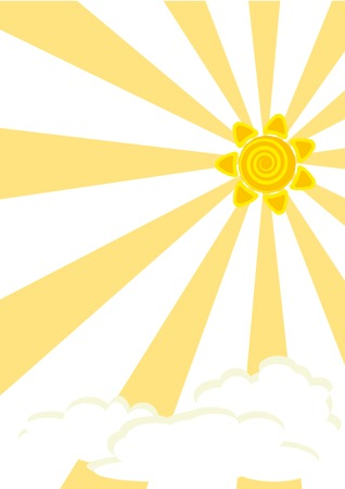 Striped background with sun and clouds Vector