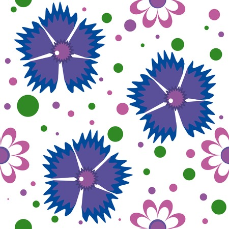 Seamless pattern with color flowers and spots Vector
