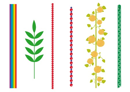 creeps: conjunto de vectores diferentes pinceles: arco iris, plantas, piedras, �rboles de naranja, cremallera