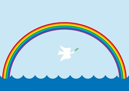 paloma caricatura: Fondo con el arco iris y la paloma de la paz  Vectores