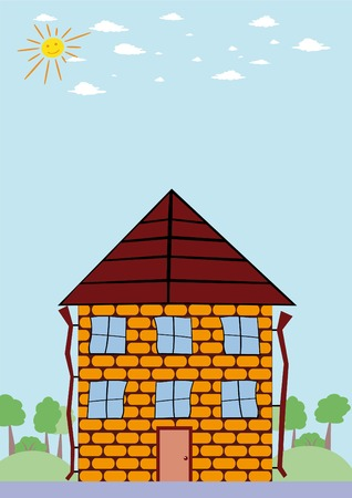 Summer landscape with cartoon house and smiling sun Vector