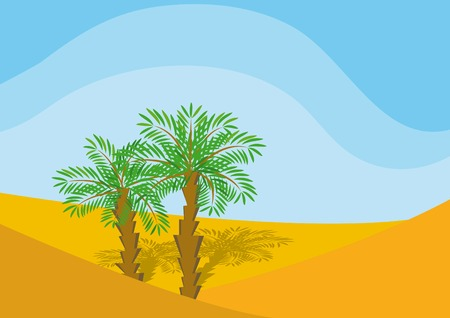 Two palm-trees in a desert Vector