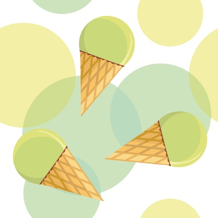 Seamless pattern with mint ice-cream on spotted background. Stock Vector - 4539191