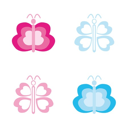 Four abstract butterflys. Vector illustration. Stock Vector - 4539172