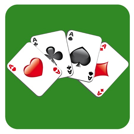 Four aces on green background Vector