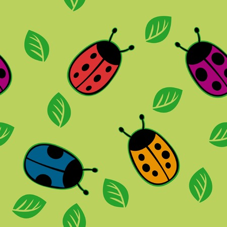 Seamless pattern with color ladybirds on green background Vector