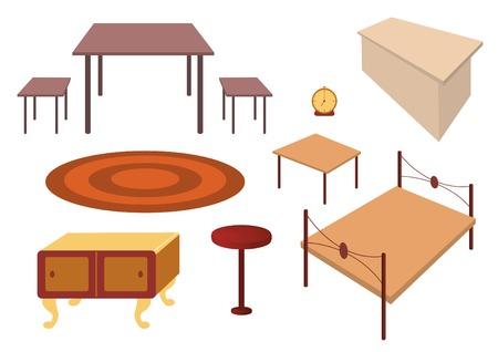 Vector furniture set: dinner table, stool, alarm-clock, desk, bed, bedside-table, rug, cabinet. Vector