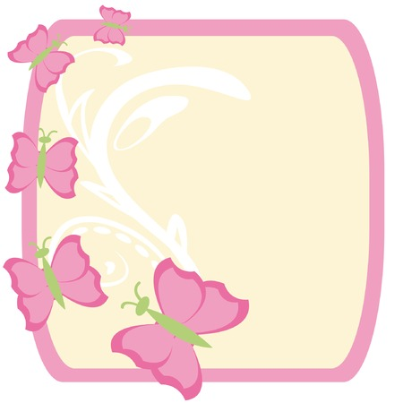 Frame with color butterflies for Easter. Vector illustration. Stock Vector - 4634771