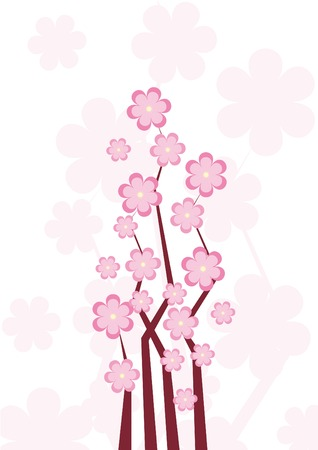 peach tree: Spring background with blossom pink flowers Illustration