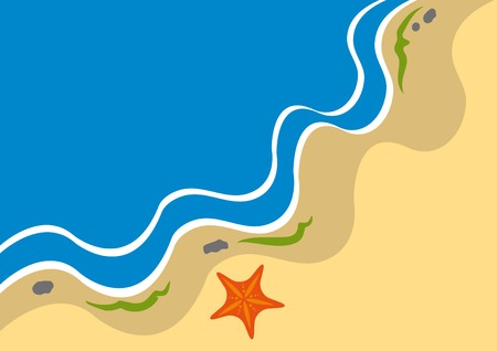 slimy: Adstract coastline background with starfish Illustration