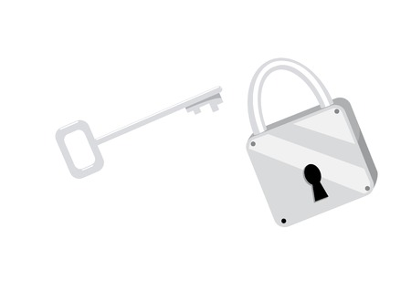 Isolated illustration of the padlock and the key Vector