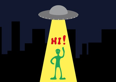 Background with the ufo and funny alien. Vector