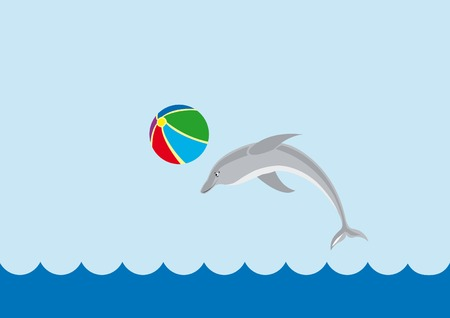 background with the sea and playing dolphin Vector