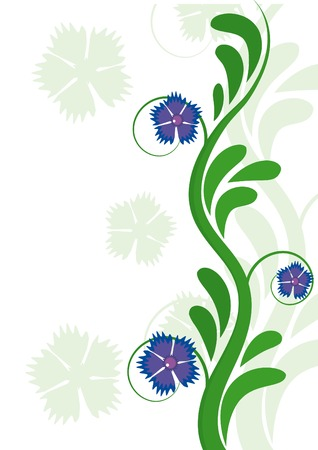 Abstract floral element with cornflowers Vector