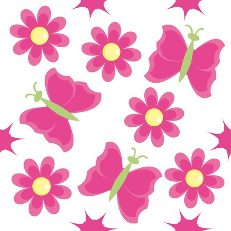 Seamless pattern with pink flowers and butterflies