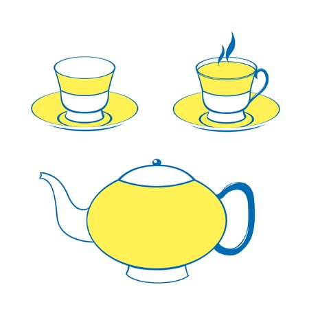Vector set with two cups and the teapot Stock Vector - 4888162