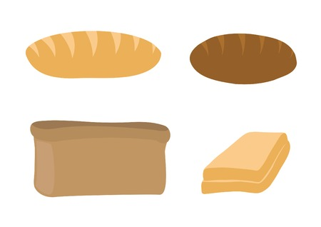 Vector set with white bread, rye-bread and sandwich Vector