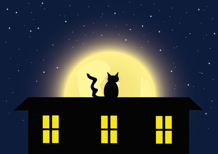 Night background with the cat and full moon. Vector