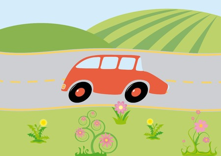 Green view with cartoon car on-the-way Vector